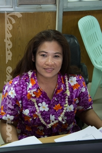 Thai custom clerk in Hawaiian uniform